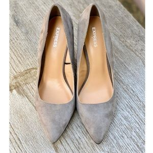 Grey Faux Suede Express Wedge Heels
